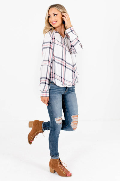 White Plaid Cute and Comfortable Boutique Tops for Women