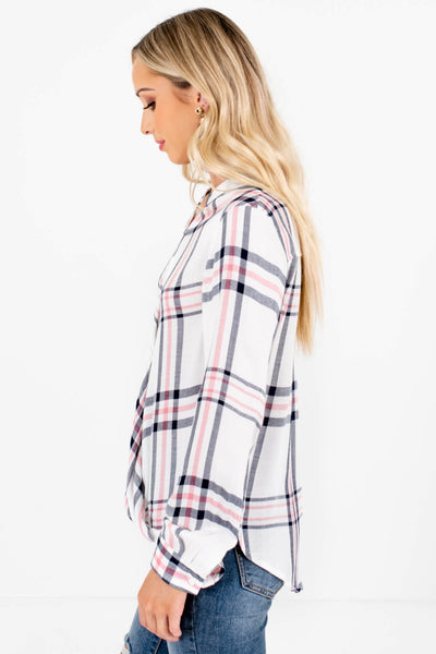 White Plaid Wrap Style Boutique Tops for Women