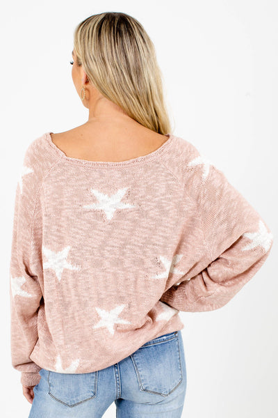 Women's Pink and White Star Patterned Boutique Top