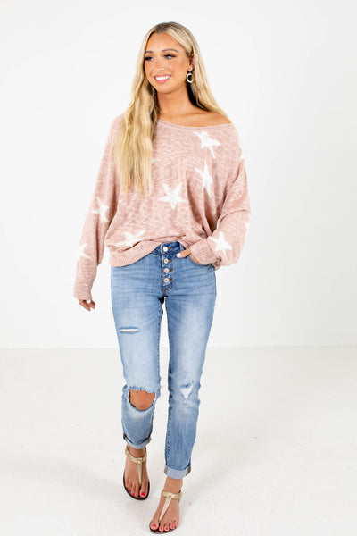 Pink Cute and Comfortable Boutique Knit Tops for Women