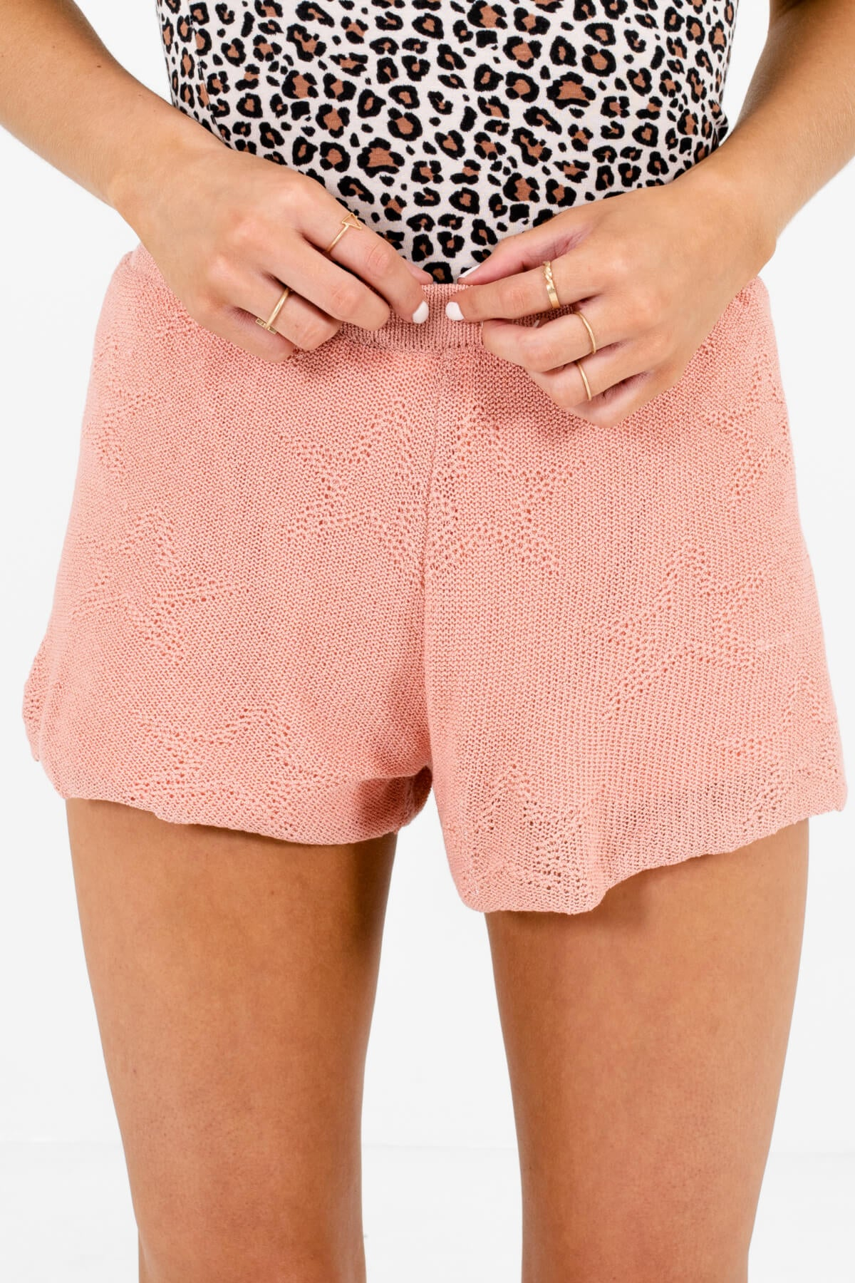 Pink Star Patterned Boutique Shorts for Women