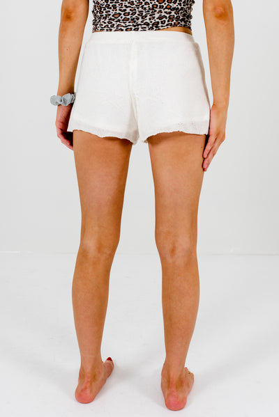 Women's White Star Knit Patterned Boutique Shorts