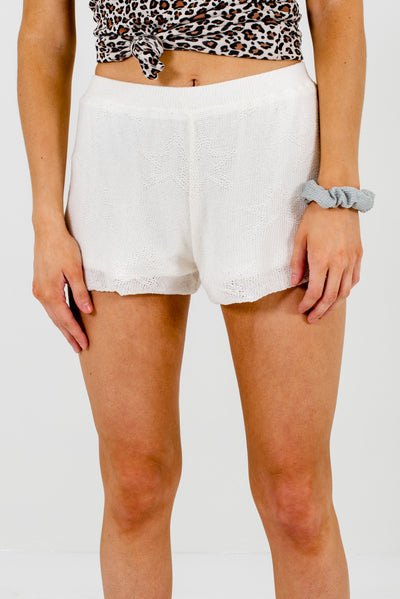White High-Quality Knit Material Boutique Shorts for Women