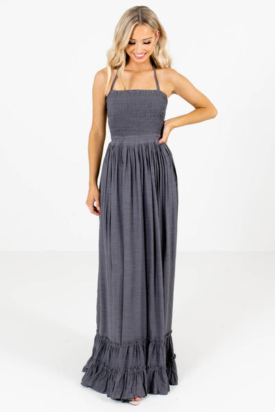 Women's Charcoal Gray Partially Lined Boutique Maxi Dress