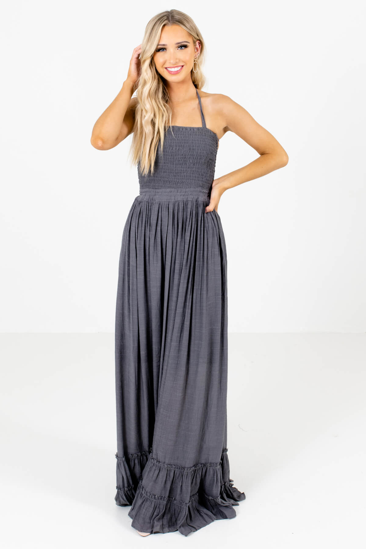 Charcoal Gray Smocked Bodice Boutique Maxi Dresses for Women