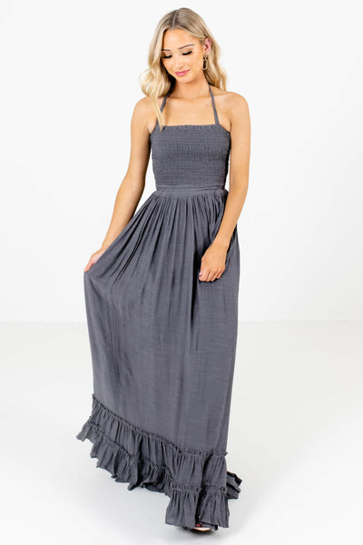 Women's Charcoal Gray Bohemian Style Boutique Maxi Dress