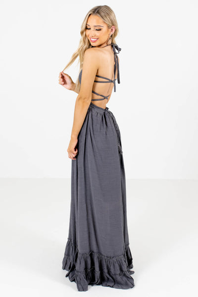 Charcoal Gray Halter Style Boutique Maxi Dresses for Women