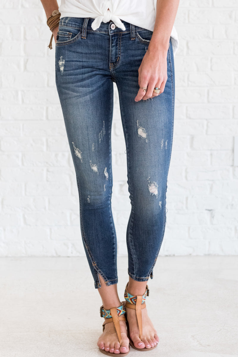 Star Struck Ankle Slit Blue Denim KanCan Jeans