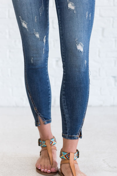 Denim Blue Distressed Skinny Jeans for Women