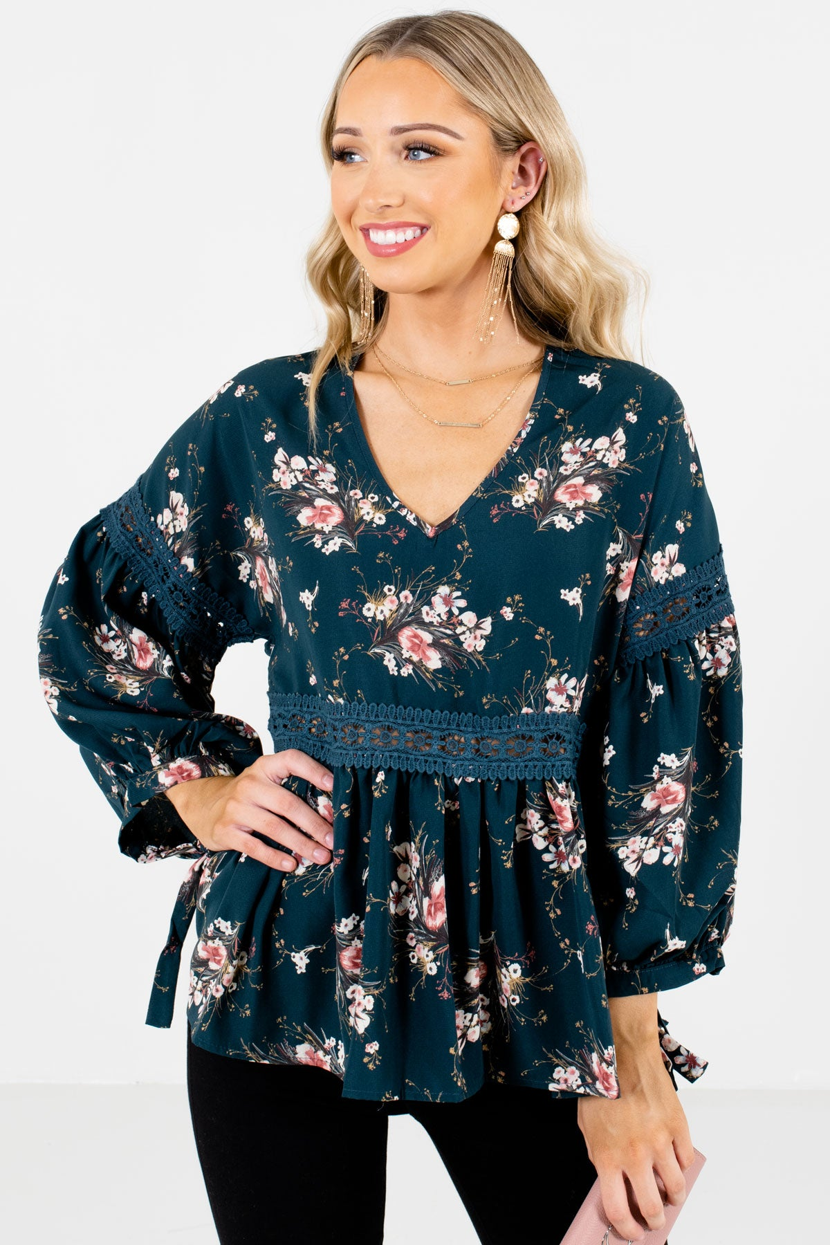 Teal Blue Multicolored Floral Pattern Boutique Blouses for Women