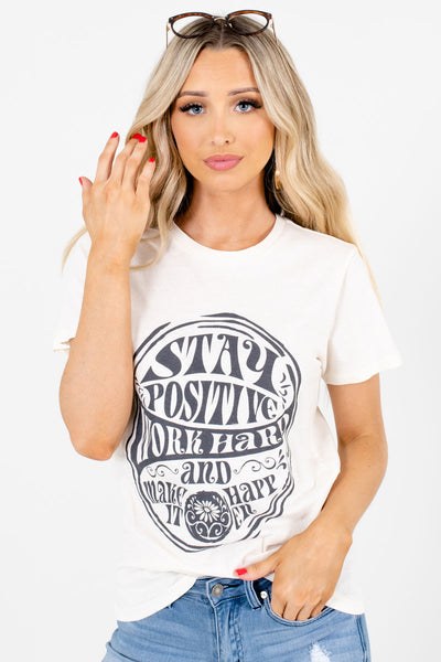 Cream and Charcoal Boutique Graphic T-Shirts for Women