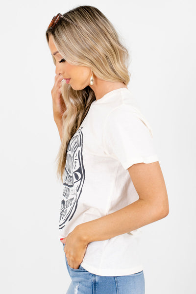 Cream Short Sleeve Boutique Graphic T-Shirts for Women