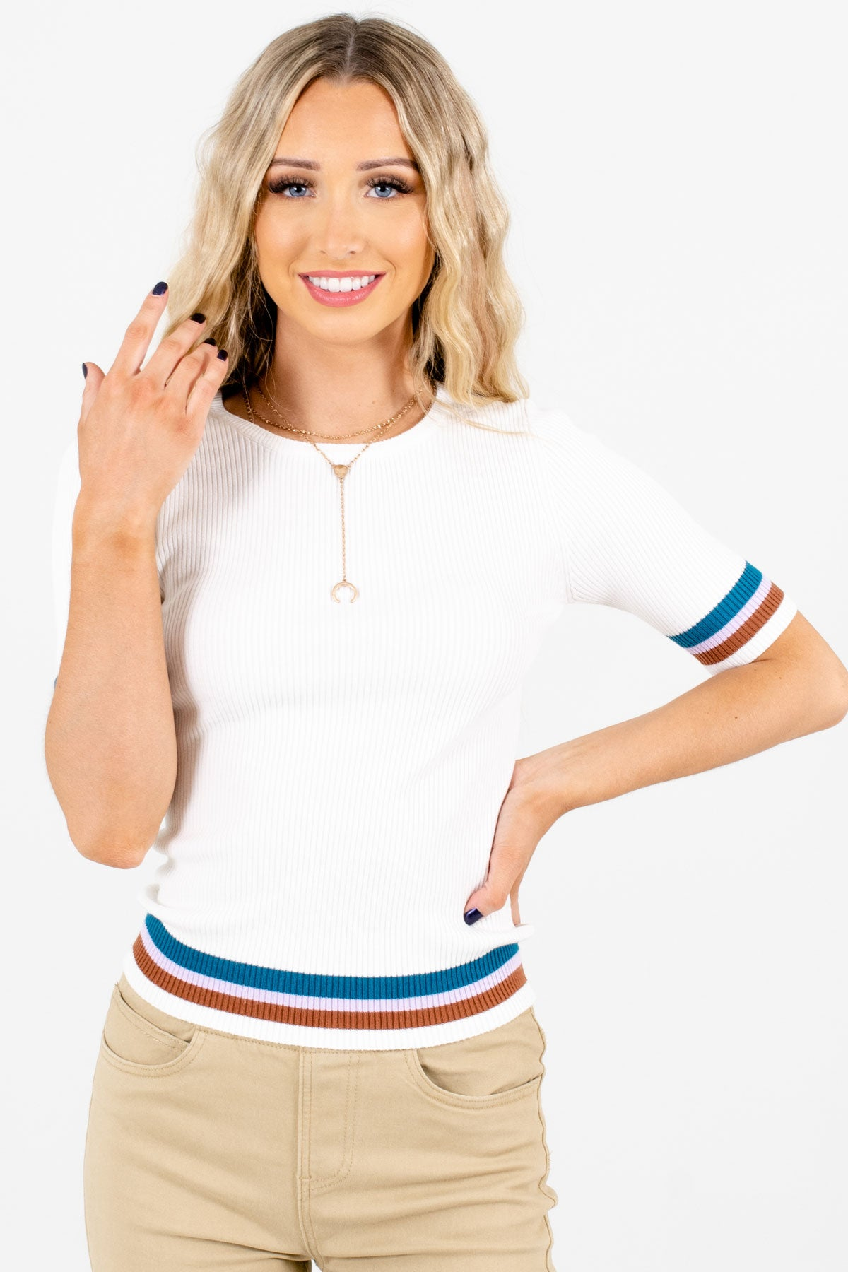 White High-Quality Ribbed Material Boutique Tops for Women