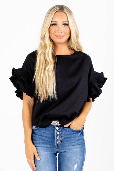 Black Ruffle Sleeve Boutique Blouses for Women