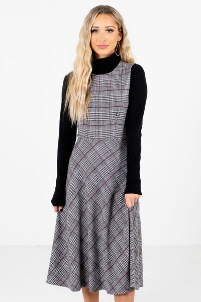 Gray Multicolored Plaid Patterned Boutique Midi Dresses for Women