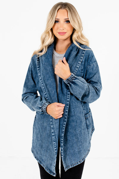 Women's Blue Boutique Denim Jackets with Pockets