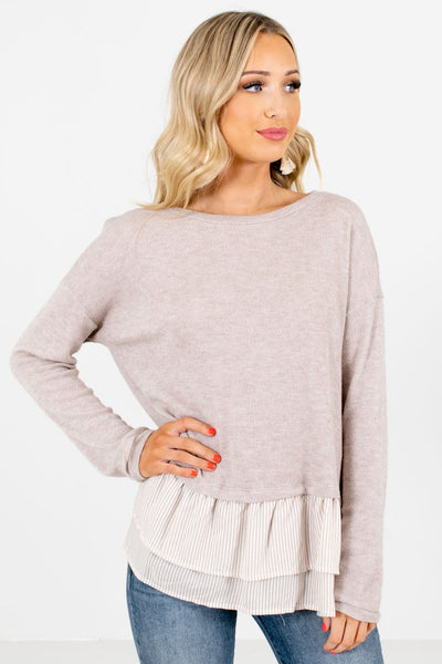 Women's Taupe Brown Round Neckline Boutique Tops