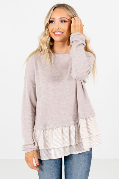 Women's Taupe Brown Warm and Cozy Boutique Tops