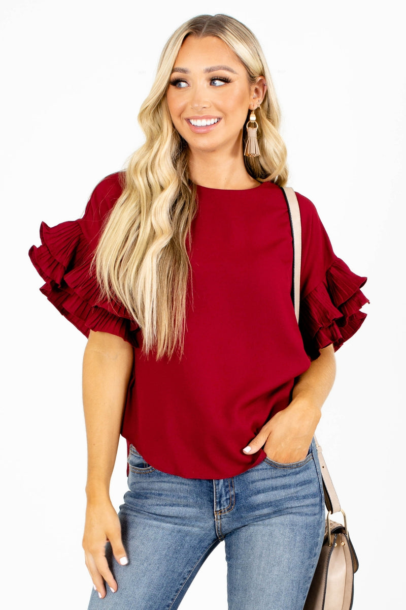 Stay Thriving Ruffle Sleeve Top - Red