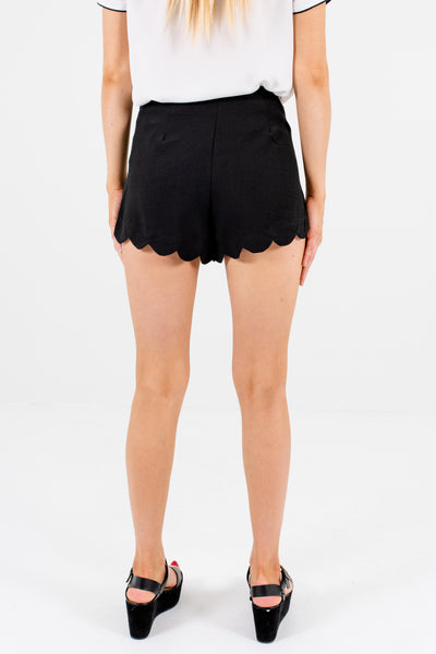 Black Scalloped Shorts with Size Zipper and High-Quality Material