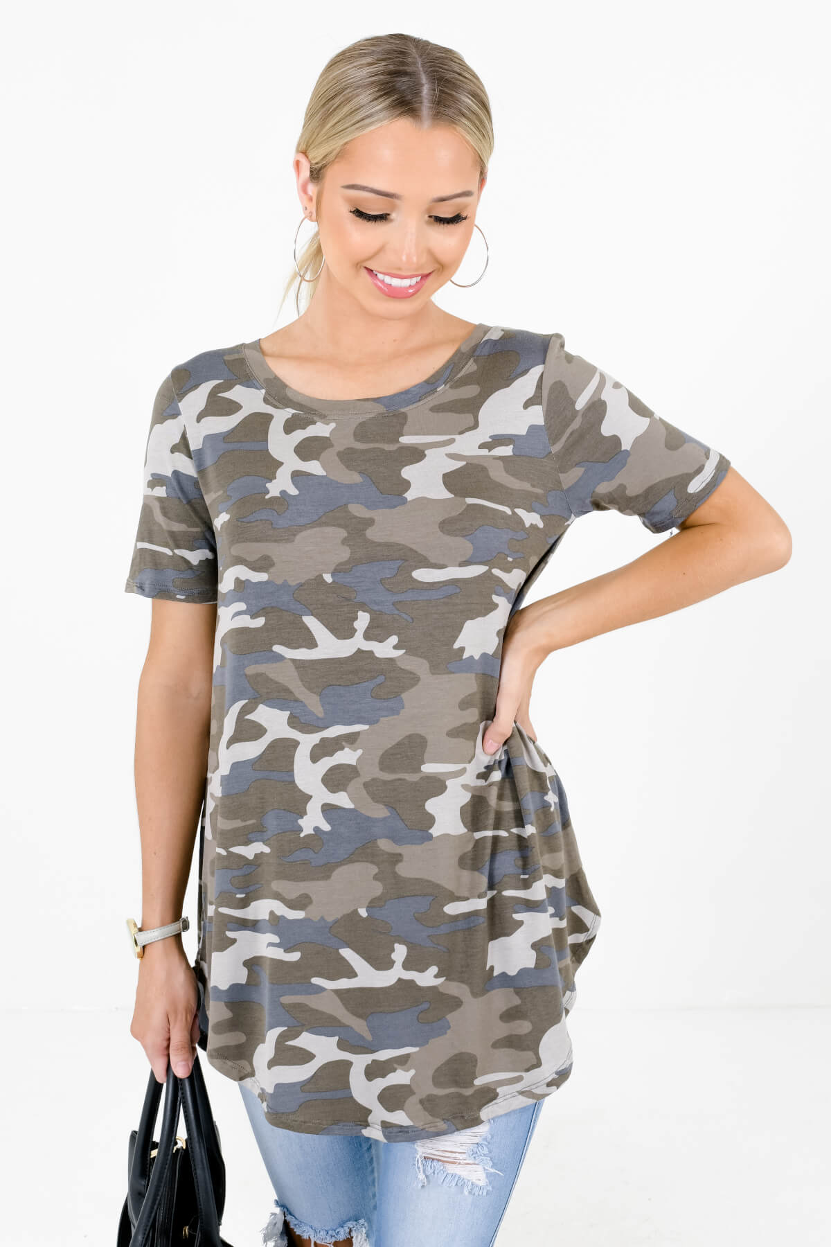 Green and Gray Camo Print Boutique Tops for Women