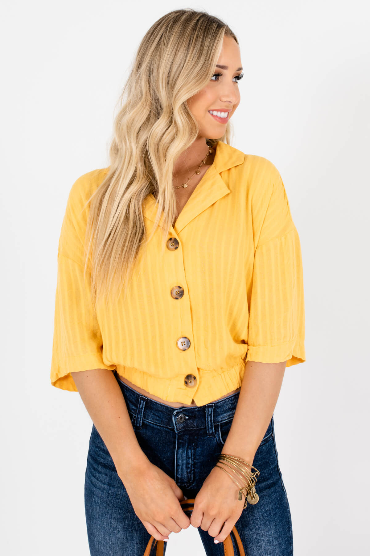 Yellow Button-Up Front Boutique Shirts for Women
