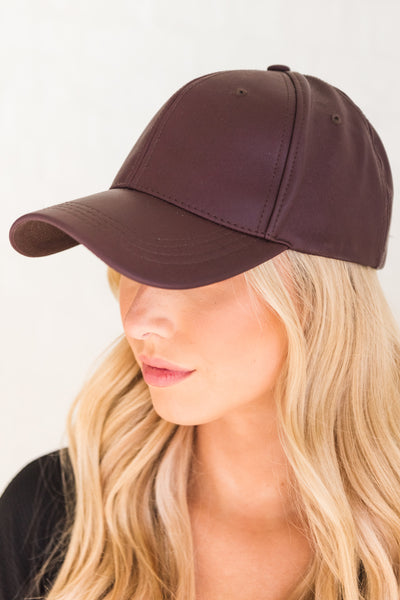 Dark Purple Faux Leather Baseball Caps for Women