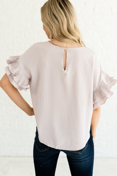 Light Blush Pink Women's Boutique Pleated Sleeve Top
