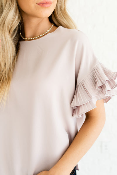 Light Blush Pink Boutique Tops with Keyhole Back for Women