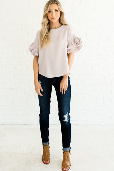 Light Blush Pink Women's Flowy and Flattering Boutique Tops