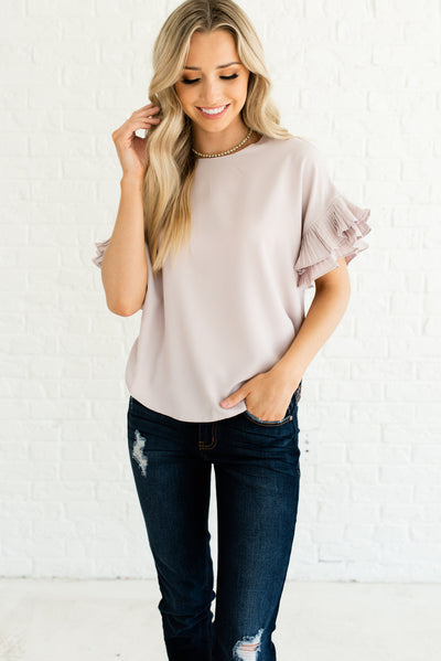 Light Blush Pink Cute Boutique Tops for Women