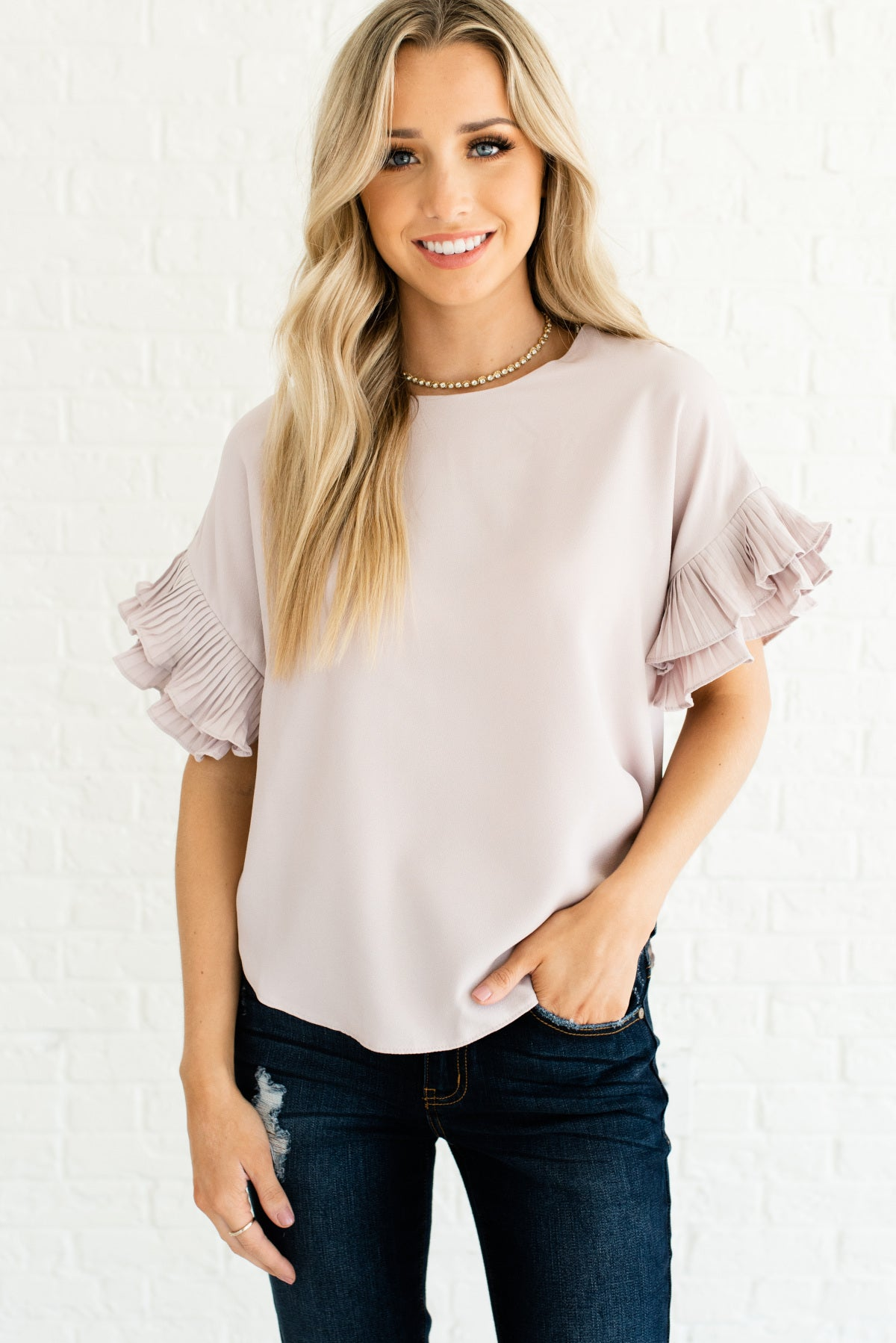 Light Blush Pink Ruffle Sleeve Boutique Tops for Women