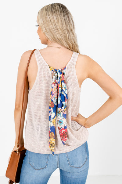 Women's Beige Patterned Self-Tie Accented Boutique Tank