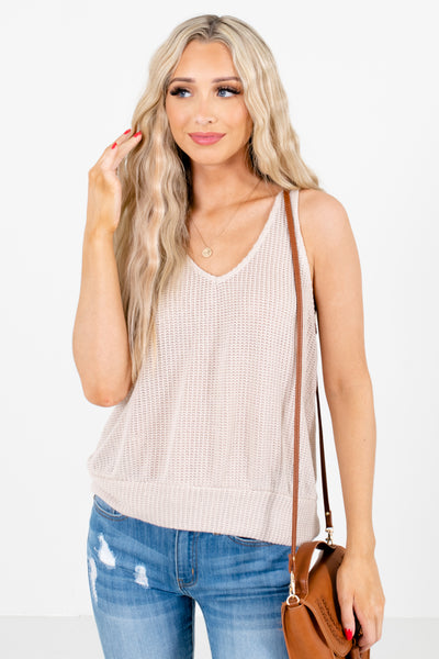 Beige V-Neckline Boutique Tank Tops for Women
