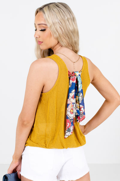 Women's Mustard Faux Wrap Back Style Boutique Tank Top
