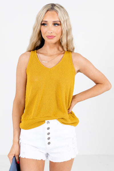 Mustard High-Quality Knit Material Boutique Tank Tops for Women