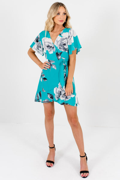 Seafoam Green and Gray Cute Floral Boutique Clothing for Women