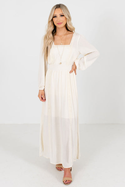 Cream Peasant Style Maxi Boutique Dresses for Women