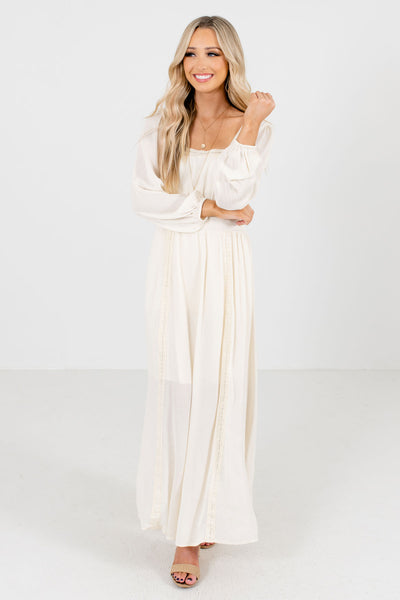 Women's Cream Bohemian Style Boutique Maxi Dresses