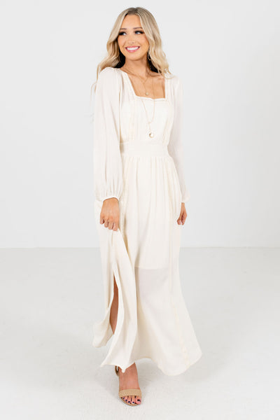 Women's Cream Square Neckline Boutique Maxi Dress