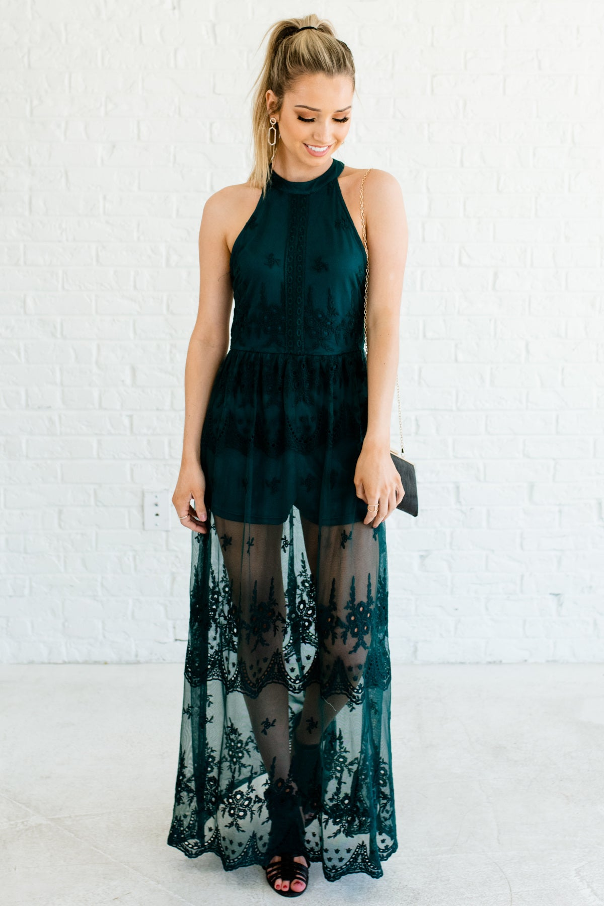 65dcc1bce0d6 Steal the Show Green Lace Maxi Romper Dress