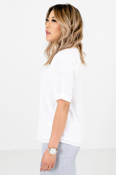 White Fully Lined Boutique Blouses for Women