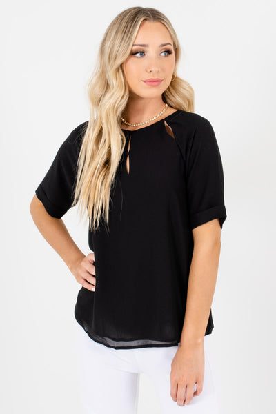 Women's Black Cute and Comfortable Boutique Blouses