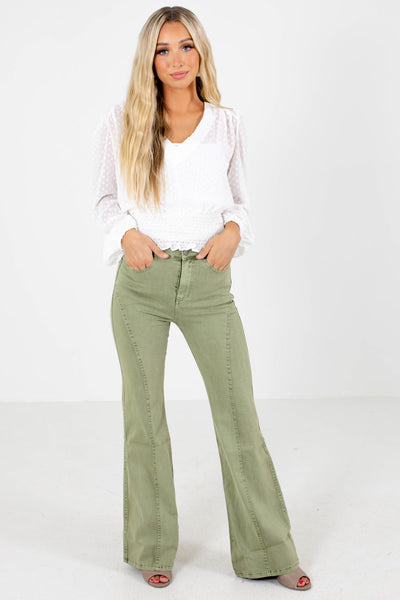 Women's Sage Green Casual Everyday Boutique Jeans