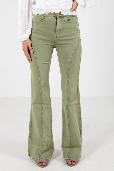 Sage Green High-Quality Boutique Jeans for Women