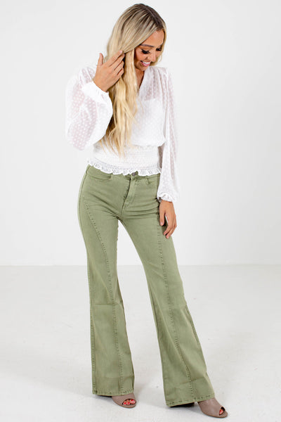 Sage Green Cute and Comfortable Boutique Flare Jeans for Women