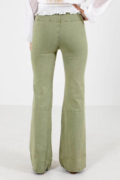 Women's Sage Green Flare Style Boutique Jeans