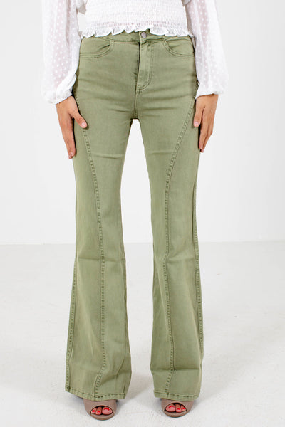 Sage Green Boutique Jeans with Pockets for Women
