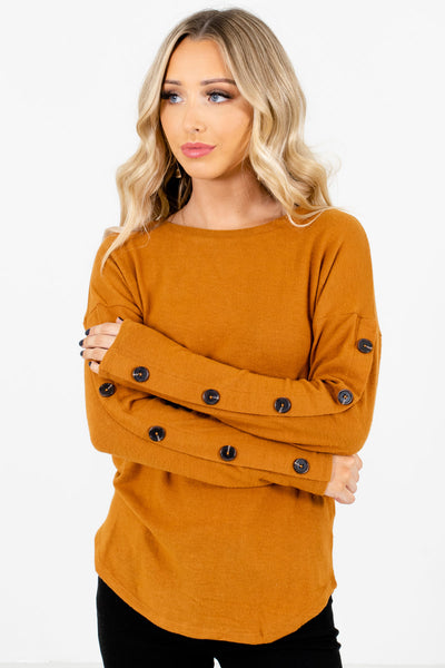 Women's Orange Cozy and Warm Boutique Tops