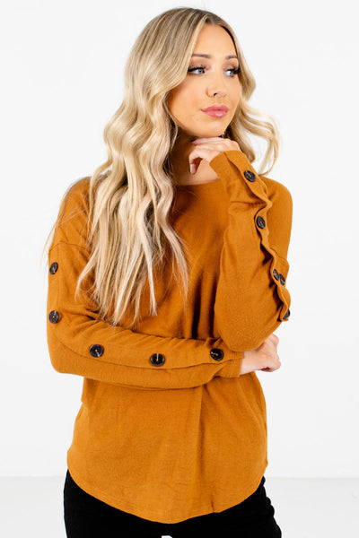 Orange Long Sleeve Boutique Tops for Women